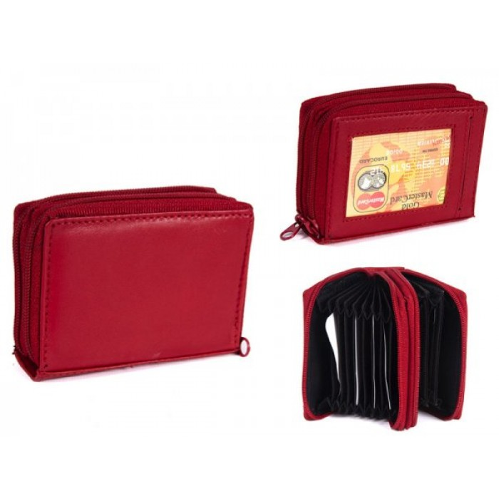 PW-02 RED REAL LEATHER TWO ZIP CARD HOLDER PURSE