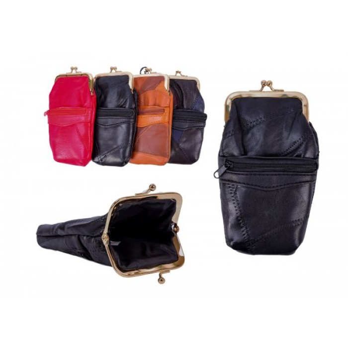 4611 REAL LEATHER PURSE BLACK