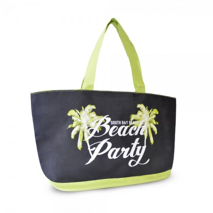 BB1025 600D BAG WITH SLOGAN PRINT BEACH PARTY BLACK