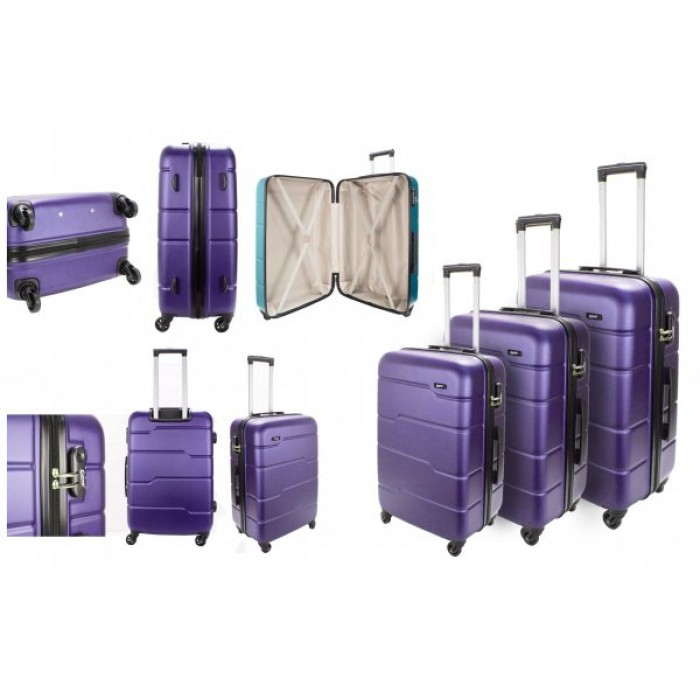 EV-425 4-WHEELED HARDCASE LUGGAGE SET OF 3 IN PLUM