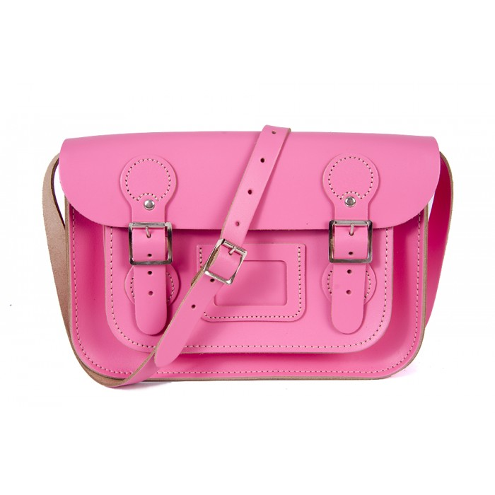 "11"" Pink Patent English Leather Satchel - Circle Shape"