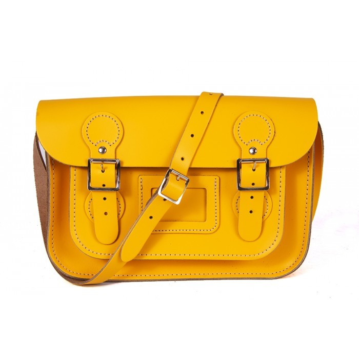 "11"" Double Yellow English Leather Satchel - Circle Shape"