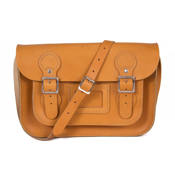 "11"" Tan English Leather Satchel - Circle Shape"