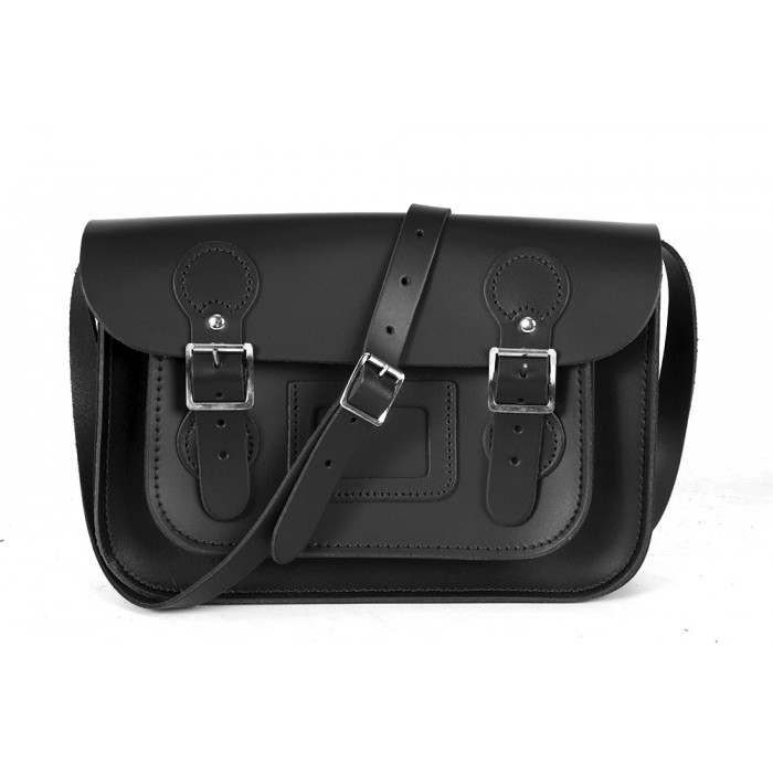 "11"" New Black English Leather Satchel - Circle Shape"