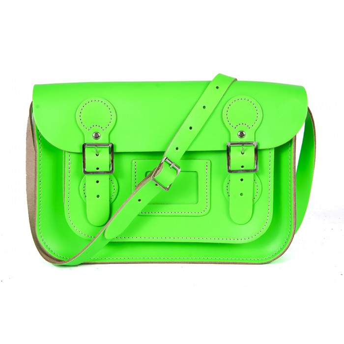"11"" Flashy Green English Leather Satchel - Circle Shape"