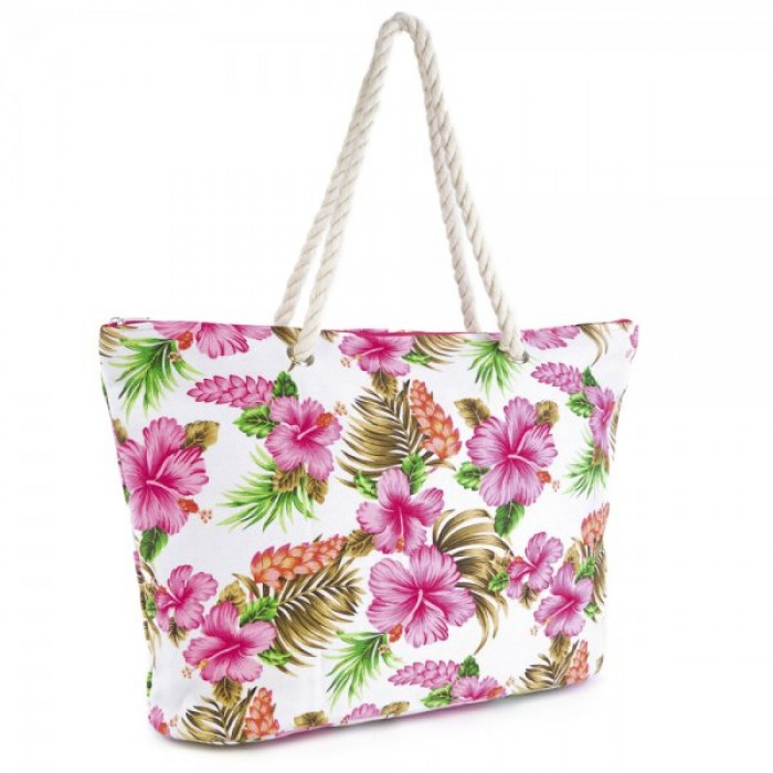 BB0901A CANVAS HIBISCUS PRINT BAG WITH WHITE FLOWERS