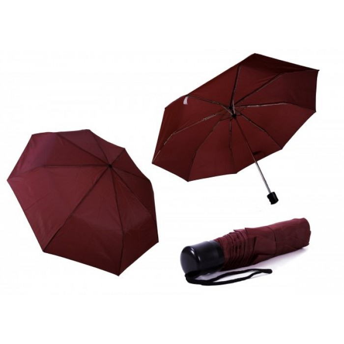 2800 BURGUNDY LADIES PLAIN FOLDING COMPACT UMBRELLA