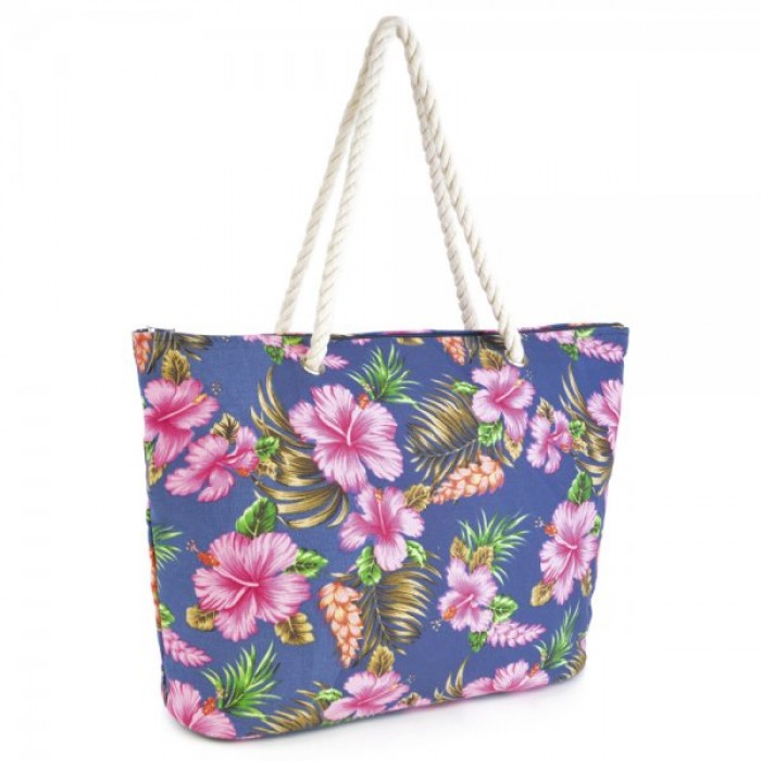 BB0901A CANVAS HIBISCUS PRINT BAG WITH NAVY FLOWERS