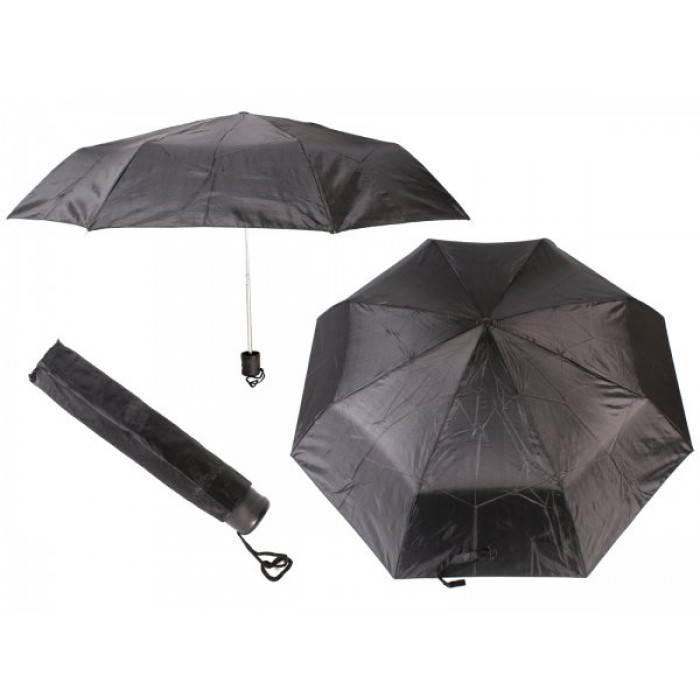 2800 BLACK LADIES PLAIN FOLDING COMPACT UMBRELLA