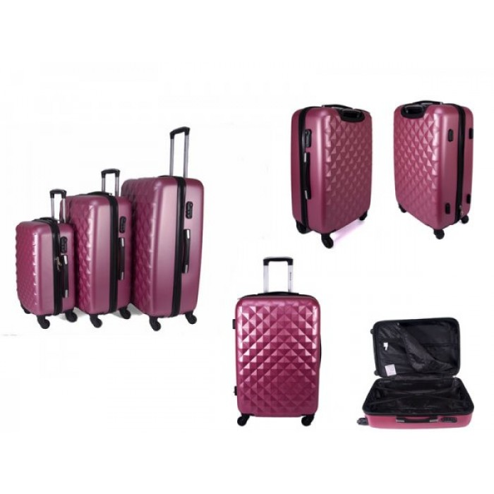 JB2020 PINK SET OF 3 HARD CASE 4 360 WHEEL FLIGHT CASE