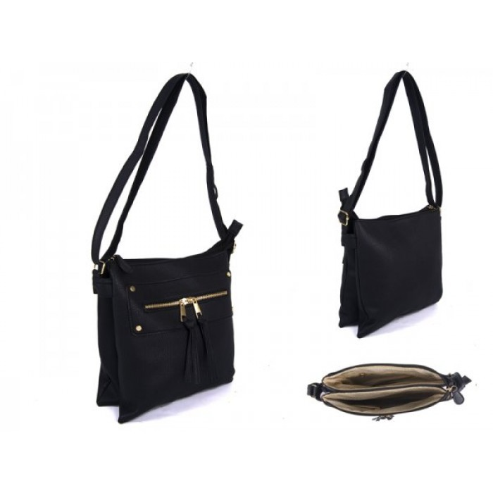 JBFB191-B-BLACK PU XBODY BAG WITH 2 ZIPS