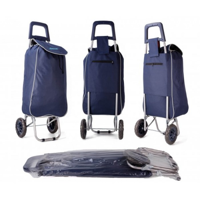 EV-430 NAVY SHOPPING TROLLEY W/ VELCRO AND STRING PULL
