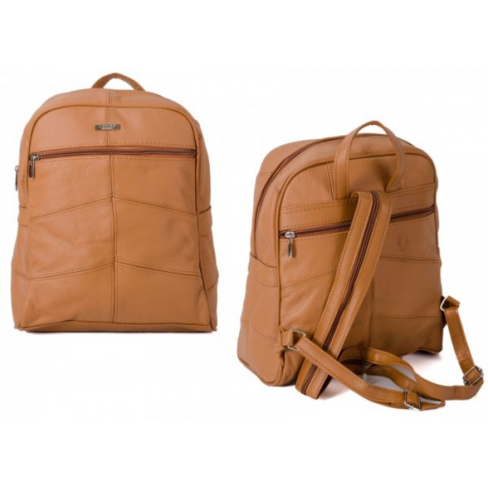 3759 LIGHT BROWN LARGE BACKPACK WITH LARGE TOP ZIP