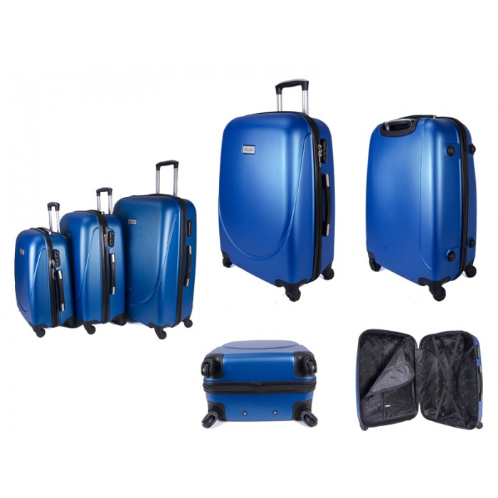 ABS-100 BLUE SET OF 3 FOUR 360 DEGREE WHEEL LUGGAGE SET