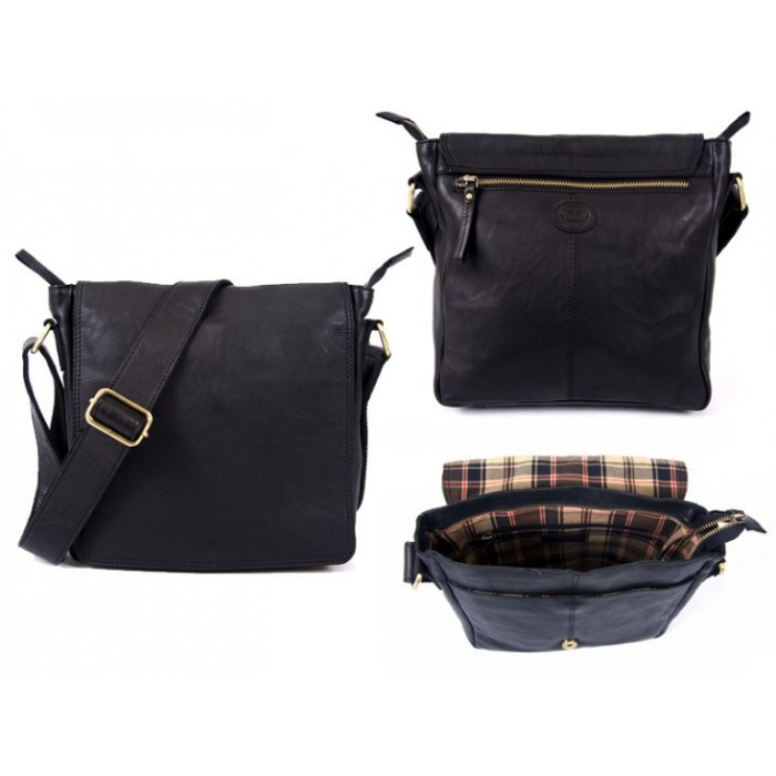0802 BLACK F.GRN C.HIDE MED. UNISX F.OVER BAG WT BCK ZIP