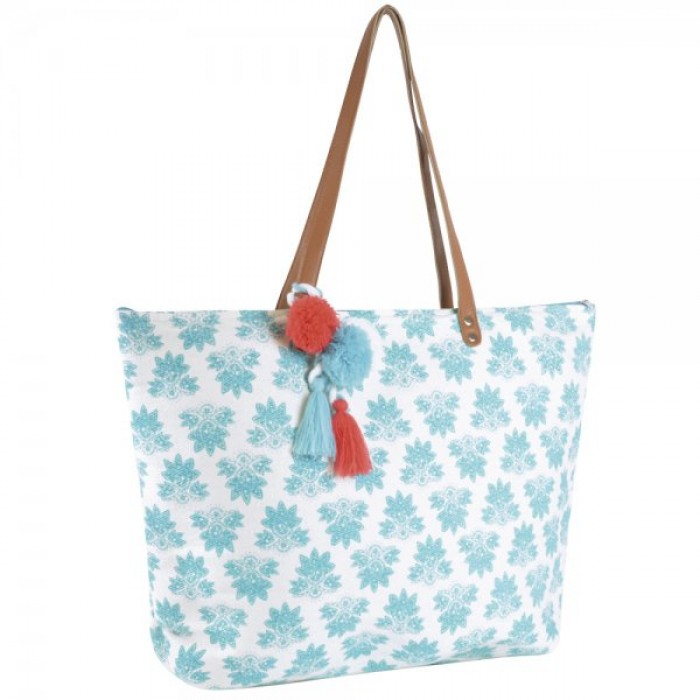 BB0966 PRINT PAPERSTRAW BAG BLUE