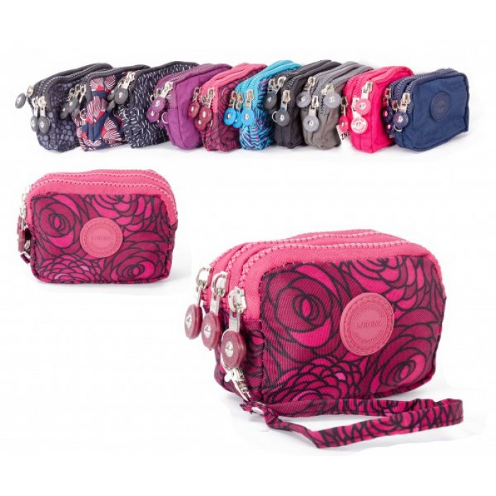2506 ROSES SMALL TRIPLE ZIP ROUND PURSE WITH DETACHABLE STRAP