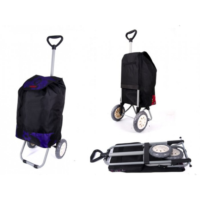 6957 WINTER PURPLE FLOWER SHOPPING TROLLEY WTH ADJUSTABLE HANDLE