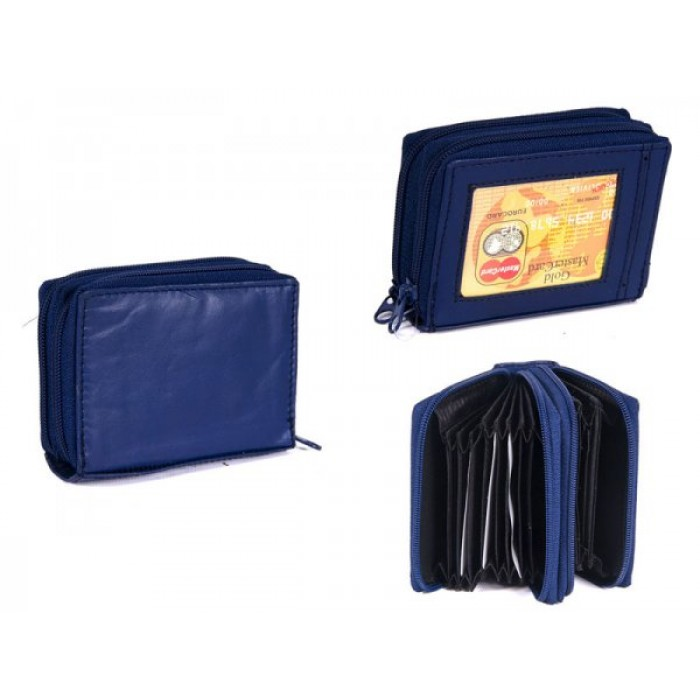 PW-02 BLUE REAL LEATHER TWO ZIP CARD HOLDER PURSE
