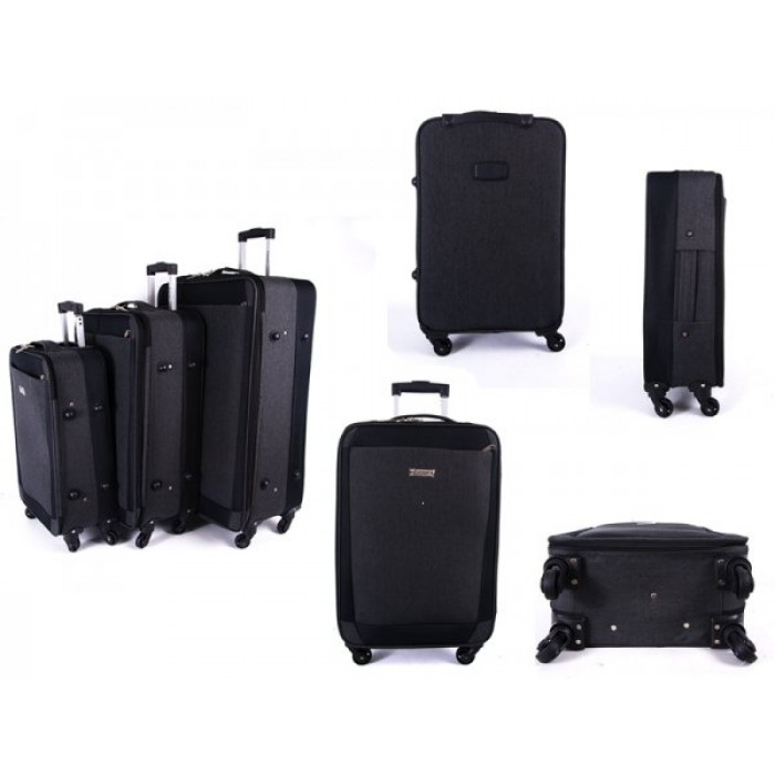 EV-419 GREY SET OF THREE EVEREST TRAVEL BAGS WITH 360 WHEELS
