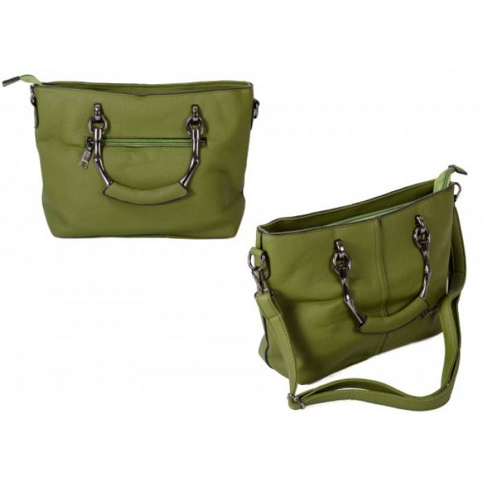 598 D.GREEN PU HANDBAG WITH CROSSBODY STRAP