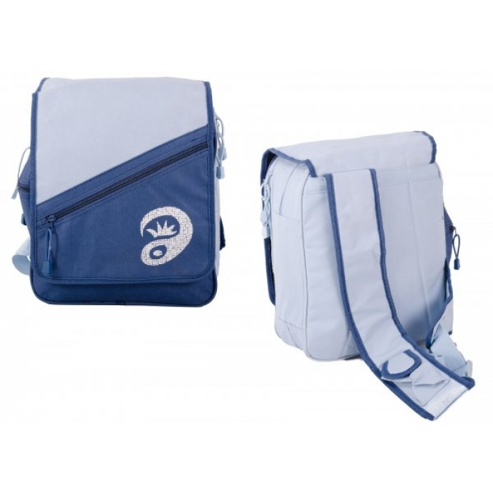 ONE STRAPPED BLUE/L.BLUE RUCKSACK WITH 5 COMPARTMENTS