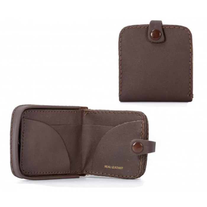 TP-02 BROWN LEATHER COIN PURSE W/ INTERIOR NOTE SECTION