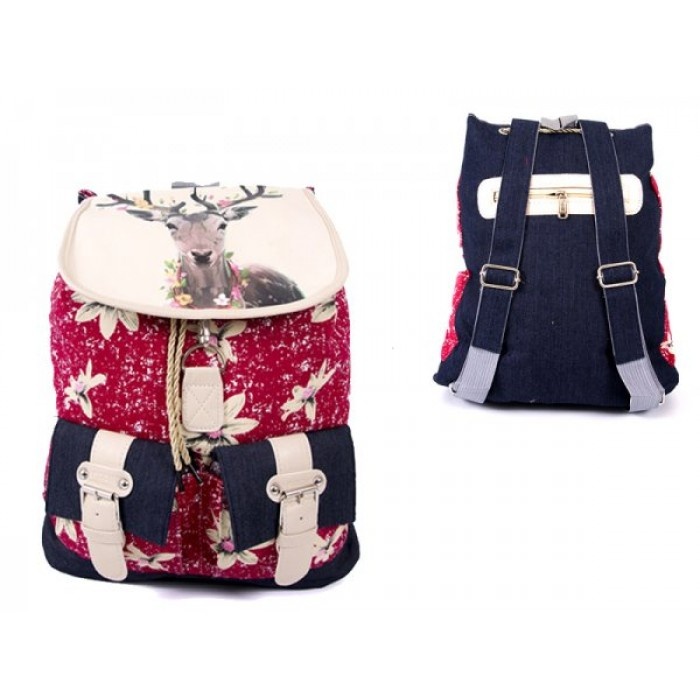 2606 BOHO CANVAS BACKPACK WITH 2 FRONT POCKETS DEER