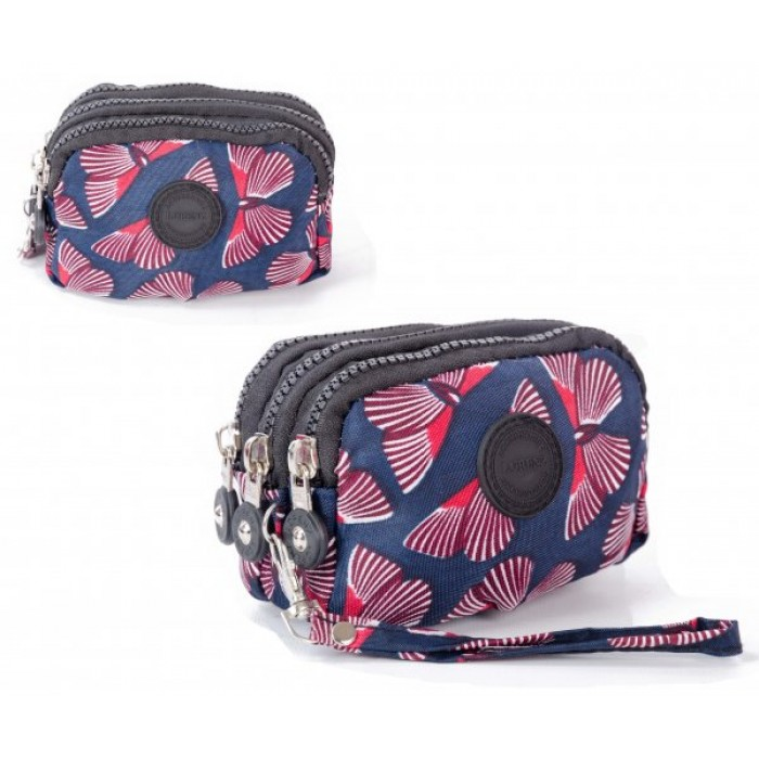 2507 BUTTERFLY MEDIUM TRIPLE ZIP ROUND PURSE WITH DETACHABLE ST