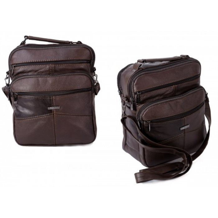 3726 DARK BROWN LARGE UNISEX/GENTS TRAVEL MULTI PKT BAG