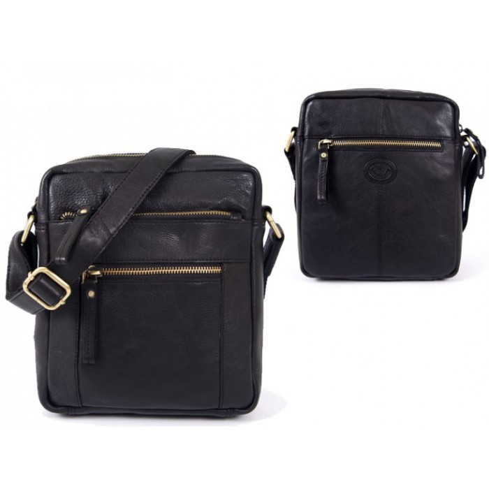 0800 BLACK F.GRN C.HIDE MED. UNISEX CROSS BODY BAG WTH 4 ZIPS