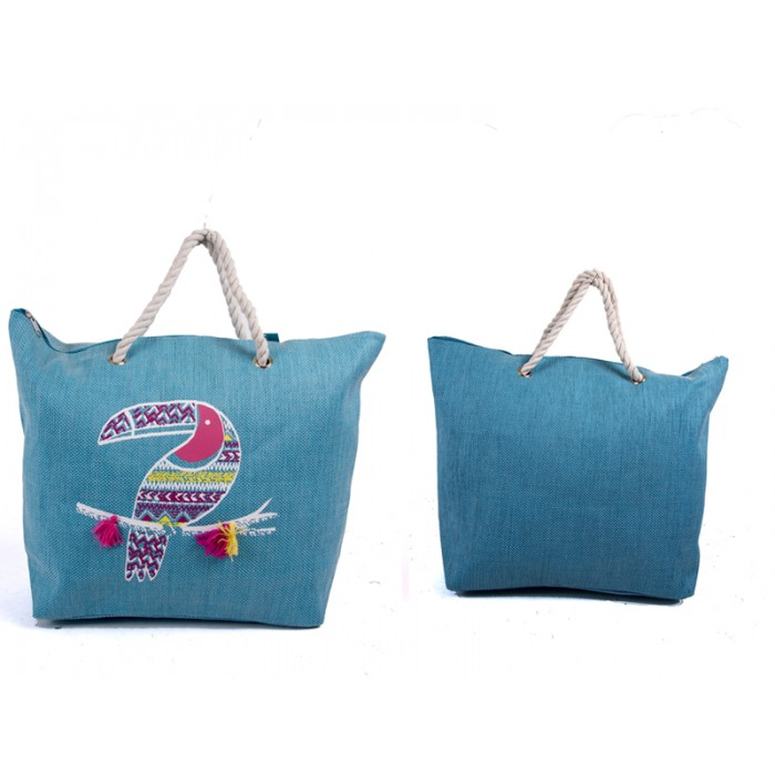 BB1007 BIRD ANIMAL PRINT CANVAS BAG