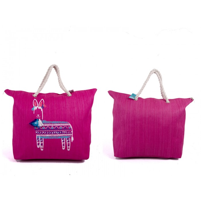 BB1007 PINK/LAMA ANIMAL PRINT CANVAS BAG