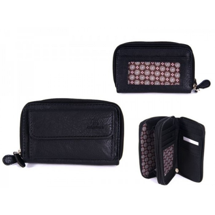JBPS122 BLACK PU PURSE WITH POP FRONT PKT AND 2 ZIPS