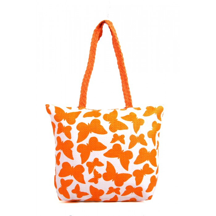 BB819A ORANGE BUTTERFLY SUMMER BAG WOVE STRAP