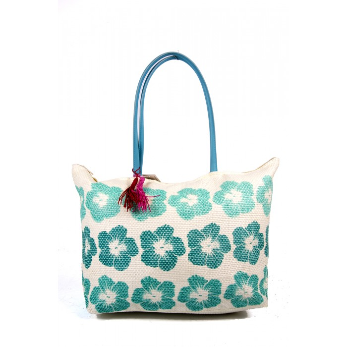 BB890  BLUE/FLOWER SUMMER BAG WTH TASSEL DETAIL