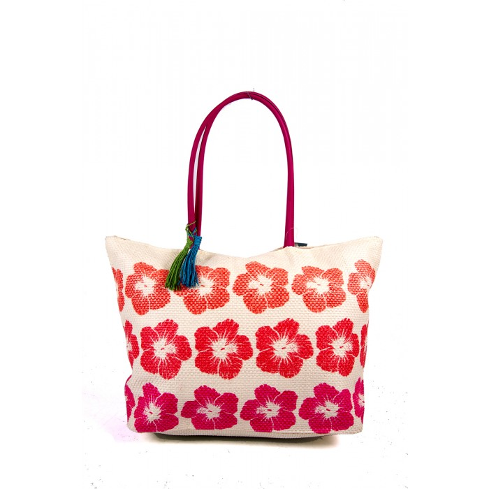 BB890  ORANGE/FLOWER SUMMER BAG WTH TASSEL DETAIL