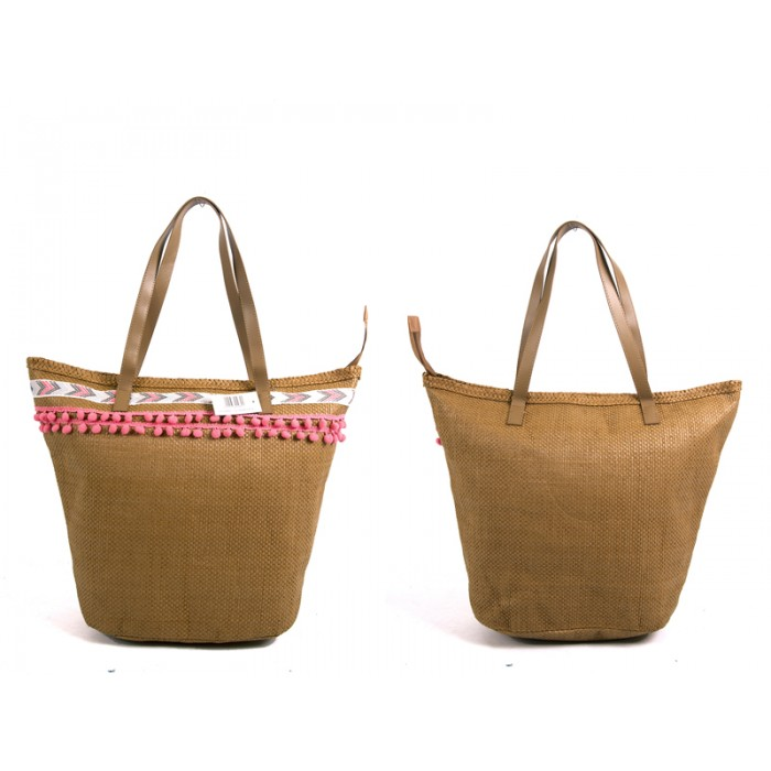 BB982 BROWN SUMMER BAG WTH TASSEL BALLS