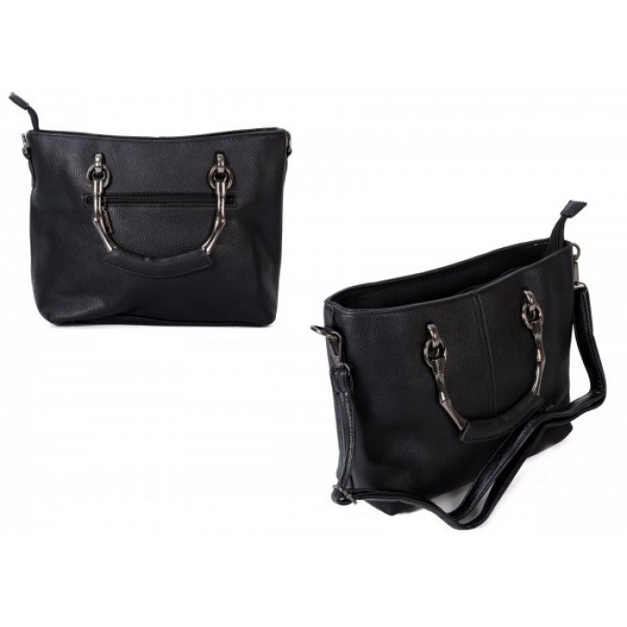 598 BLACK PU HANDBAG WITH CROSSBODY STRA