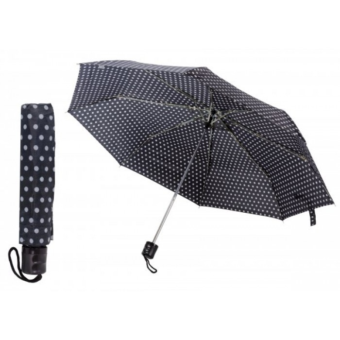 2801 BLACK AND WHITE POLKA DOT COMPACT UMBRELLA