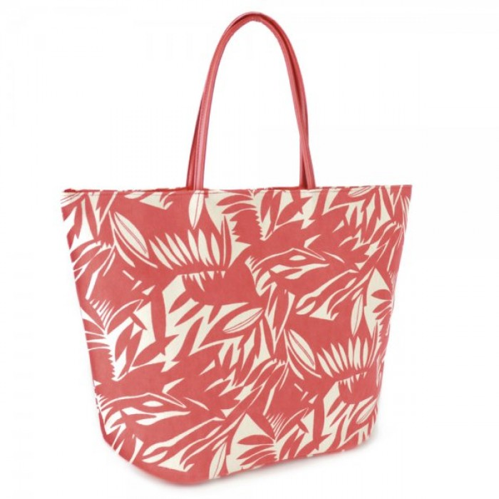BB0987 LEAF PRINTED CANVAS BAG RED