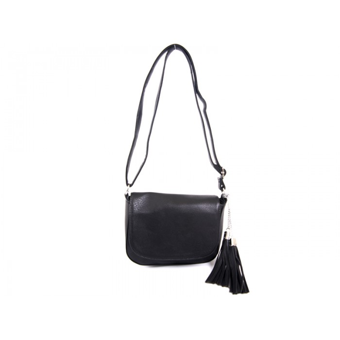 JBFB128-black  Shoulder bag flap with detachable tassels