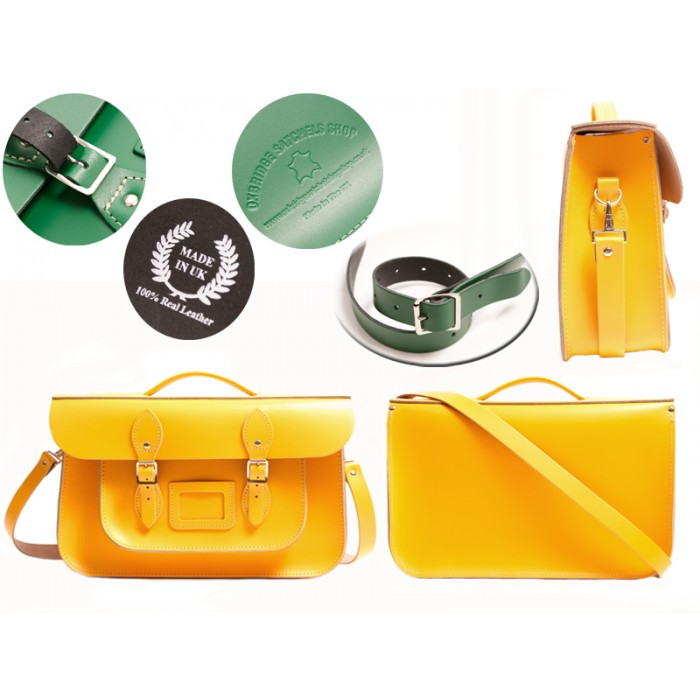 15 DOUBLE YELLOW OXBRIDGE BRIEFCASE SATCHEL