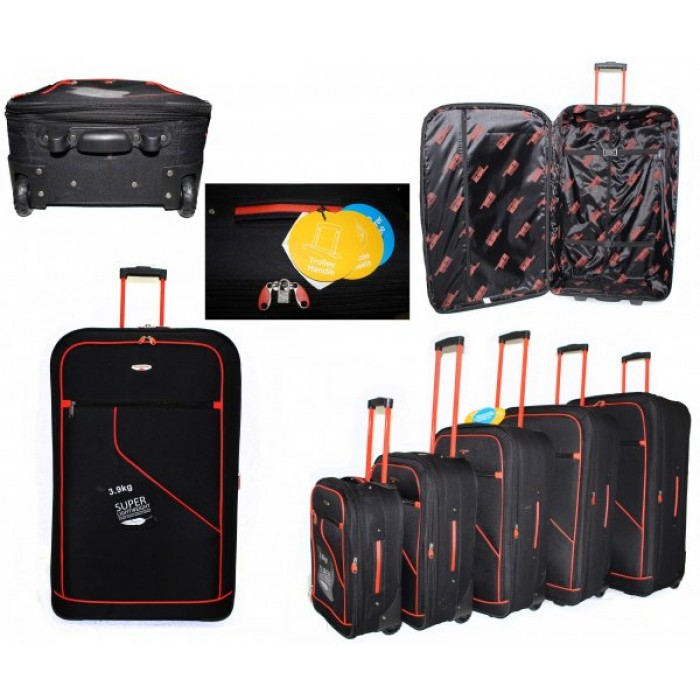 JB2006 BLACK ORANGE 5 SUITCASES
