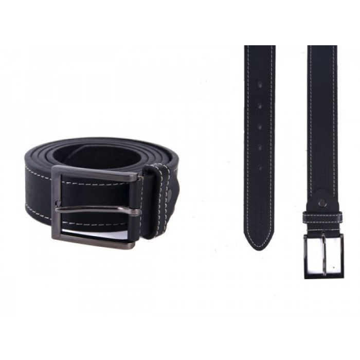 "2750 BLACK 1.5"" M BELT WITH PATTERN&CONTRAST STITCH"