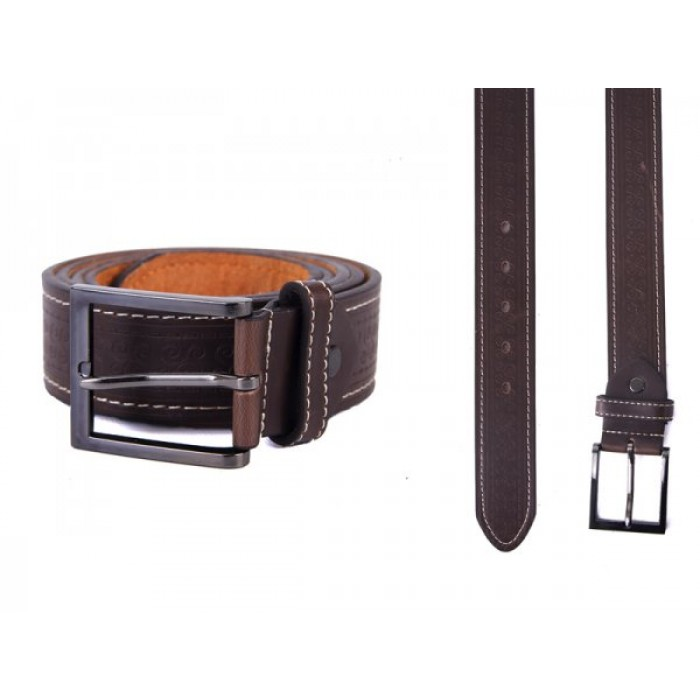 "2750 BROWN 1.5"" XXL BELT WITH PATTERN&CONTRAST STITCH"