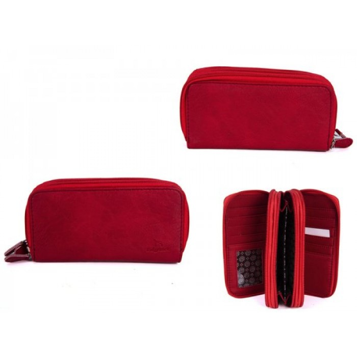 JBPS120 RED PU PURSE WITH 3 ZIPS