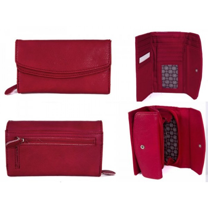 JBPS127 RED PURSE WITH 2 POP FRONT PKT AND 1 ZIP