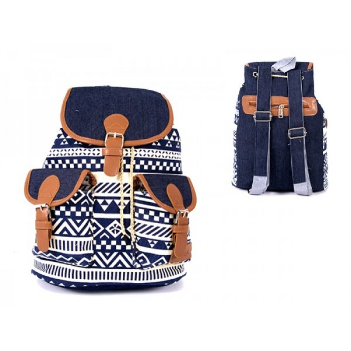 2606 BOHO CANVAS BACKPACK WITH 2 FRONT POCKETS BLUE WHITE