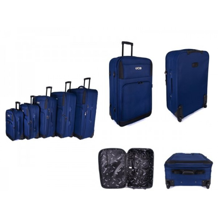 JCB2029 BLUE SET OF FIVE TROLLEY CASE